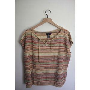 Chaps boho vintage drop sleeve shirt multicolored